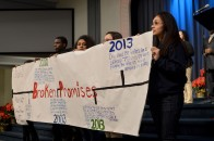 Students from a local high school showcase a timeline of their grievances with the CHA