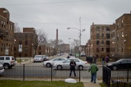 A view of the only inhabited portion of the Lathrop Homes today. Looking south down Hoyne from Diversey